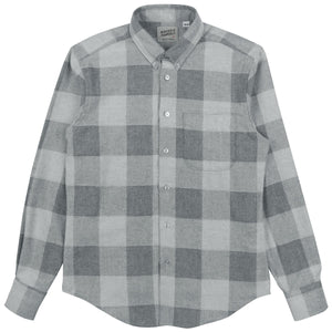 Naked & Famous Regular Shirt Dobby Buffalo Check Grey