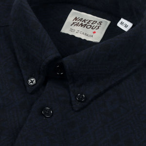 Naked & Famous Regular Shirt Brushed Tribal Midnight