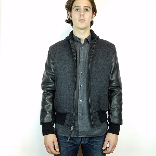 Mildblend Supply Co X Golden Bear Varsity Jacket Charcoal/Black