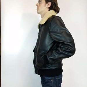 Mildblend Supply Co X Golden Bear Leather Bomber in Black