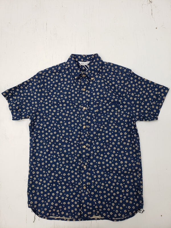 3sixteen Navy Sakura Print Short Sleeve