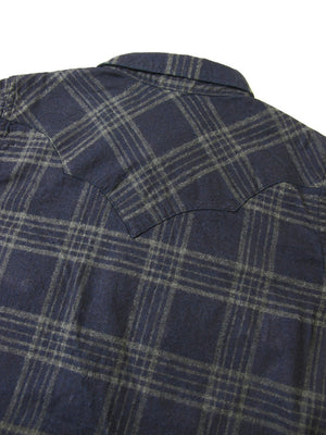 Pure Blue Japan Indigo Check Flannel Western Shirt