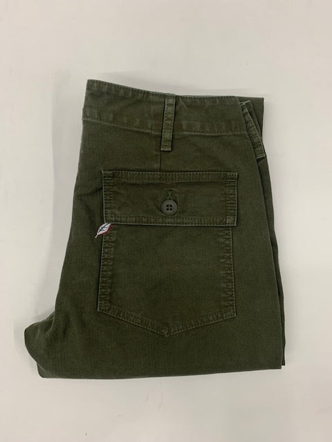 Pure Blue Japan Sulfur Dyed Whipcord Military Pants in Olive