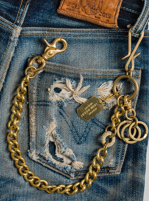Iron Heart Brass Wallet Chain with Hooks and Rings