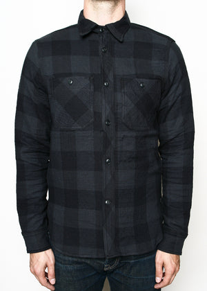 Rogue Territory BM Work Shirt Grey Quilted Plaid