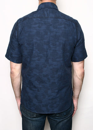 Rogue Territory Work Shirt Short Sleeve Blue Camo Dobby