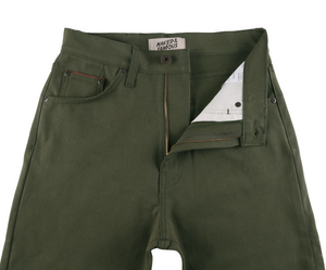 Naked & Famous Women's classic army green duck selvedge