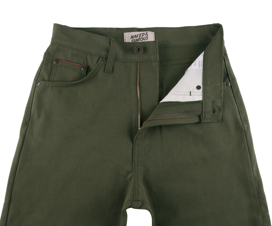 Naked & Famous classic army green duck selvedge