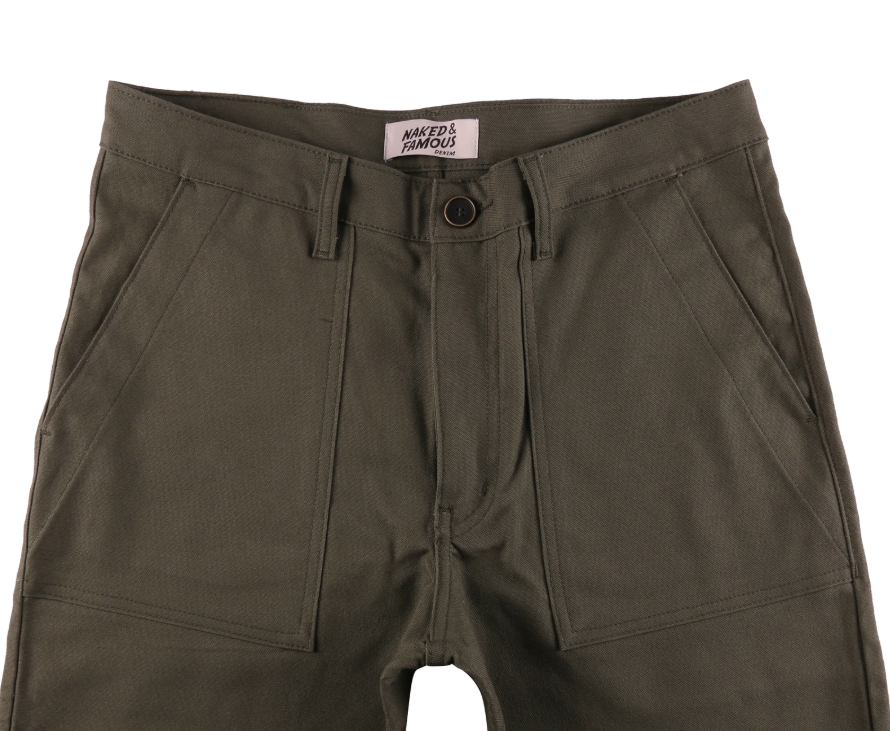 Naked & Famous work pant green canvas
