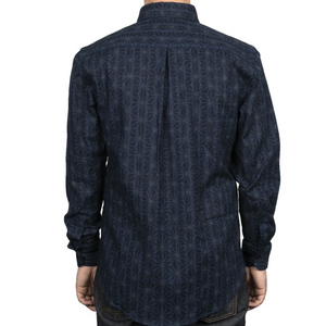 Naked & Famous Easy Shirt Kimono Pattern Dark Blue