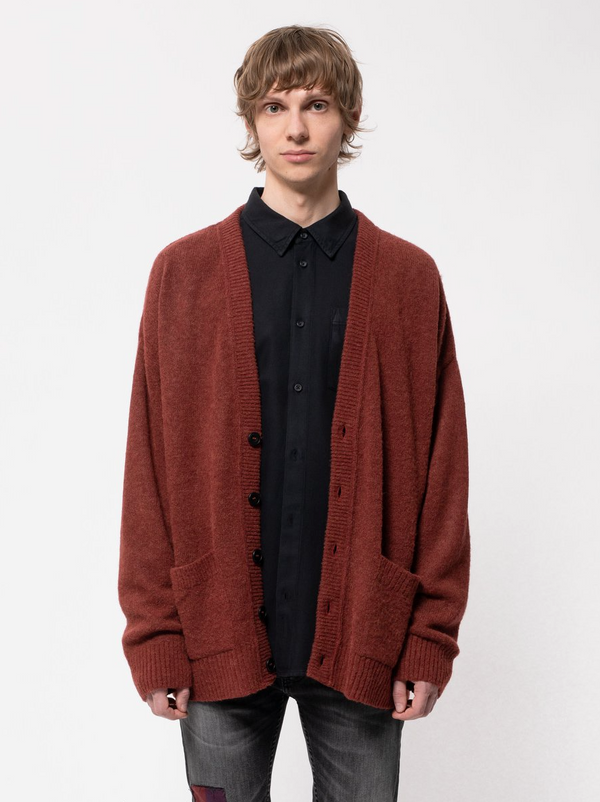 Nudie Jeans Manne Alpaca Cardigan Brick Red