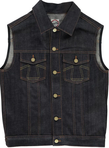 Eat Dust Fit 736 Denim Sleeveless Jacket in Indigo