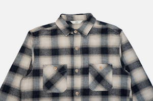3sixteen Utility Shirt in Black Cream Ombre