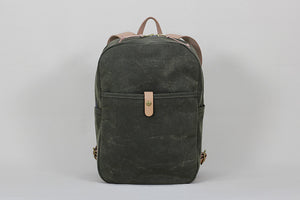 Winter Session Day Pack in Waxed Olive Canvas with Natural Leather