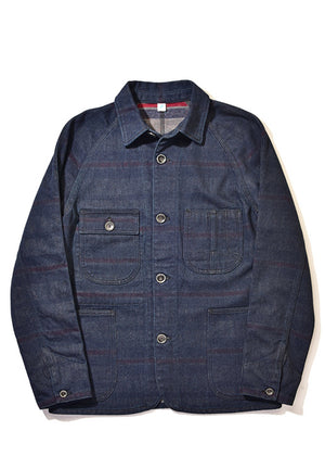 Pure Blue Japan Denim x Stripe Double face Raglan jacket 6102