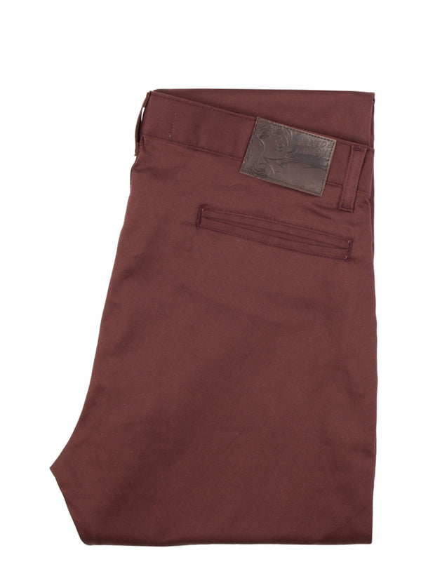Naked & Famous slim chino burgundy stretch