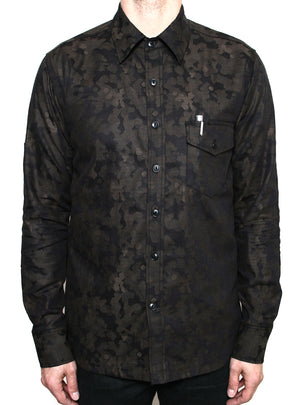 Rogue Territory Oxford Work Shirt Brown Camo Jacquard