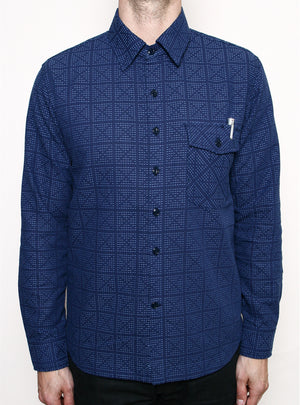 Rogue Territory Oxford Work Shirt Sashiko Stitch Shirt