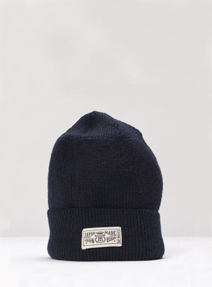 Iron Heart IHG-080 Navy 100% Wool Ribbed Beenie