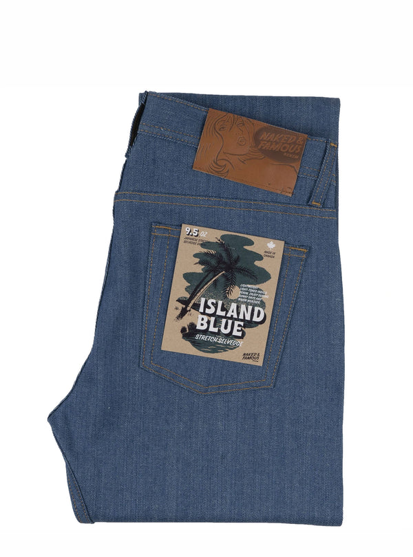 Naked & Famous Weird Guy Island Blue Stretch Selvedge