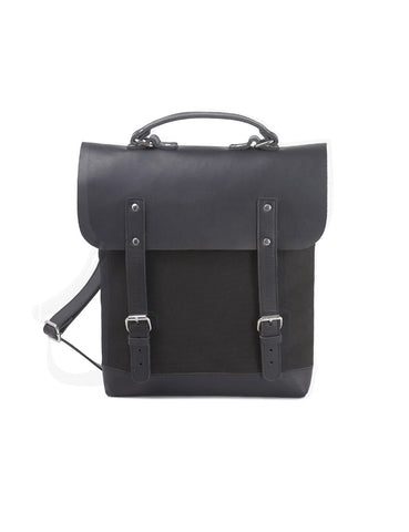 Enter Leather/Canvas Messenger Tote in Black