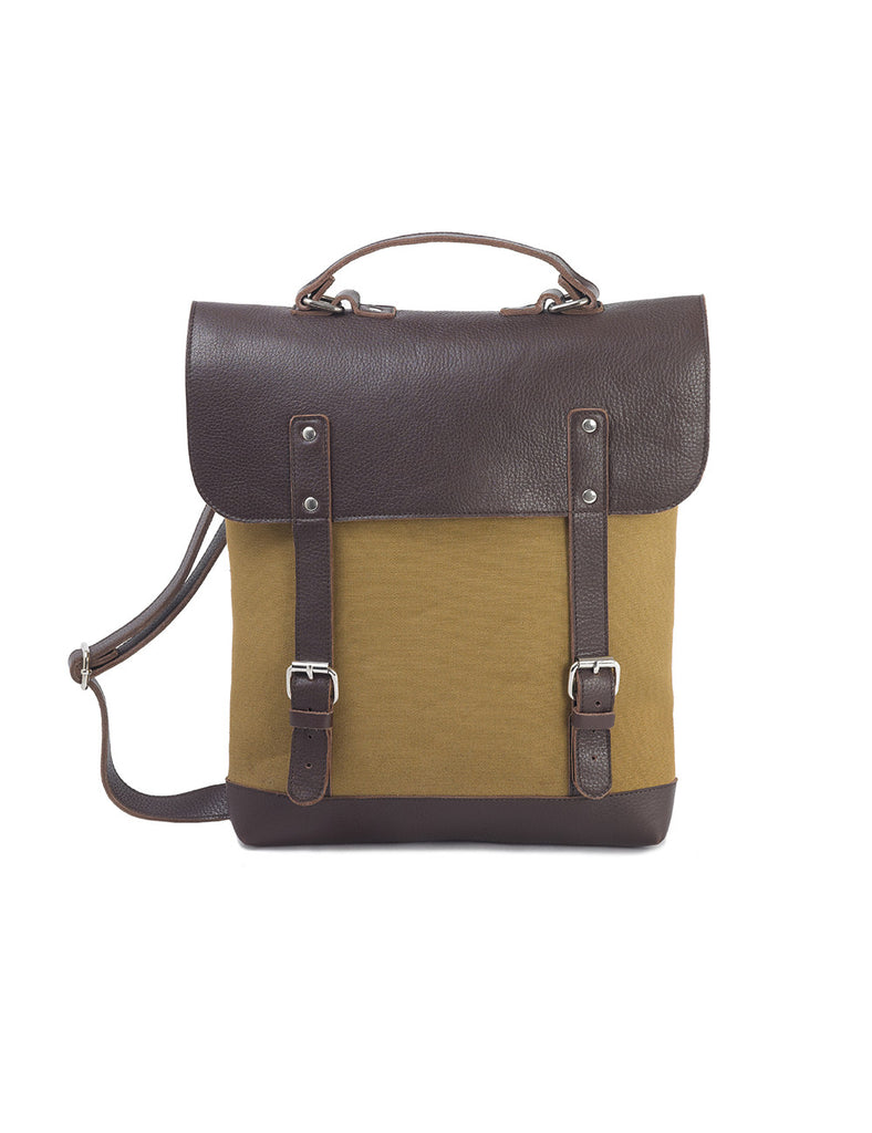 Enter Leather/Canvas Messenger Tote in Brown/Tan
