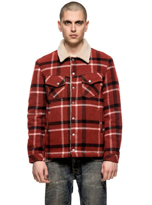 Nudie Jeans Lenny Wool Check Ruby