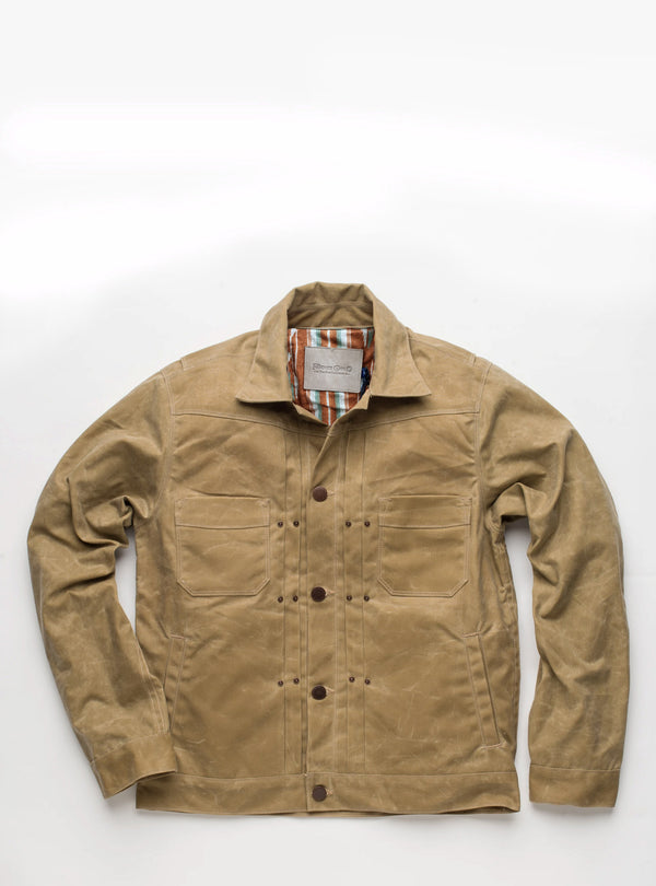 Freenote Cloth Waxed Riders Jacket in Tobacco with tan lining