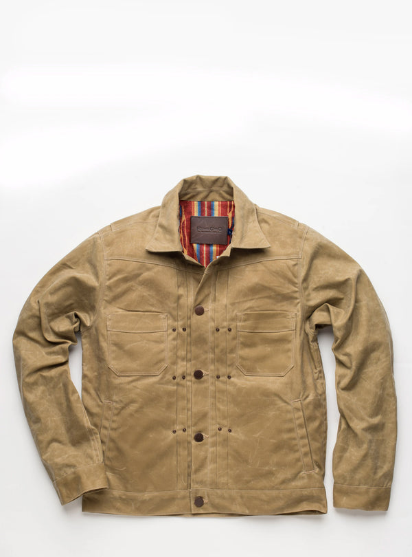 Freenote Cloth Waxed Riders Jacket in Tobacco with burgundy lining