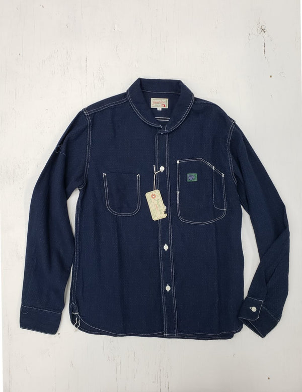 Graph Zero Shawl Collar Shirt Indigo/Bk