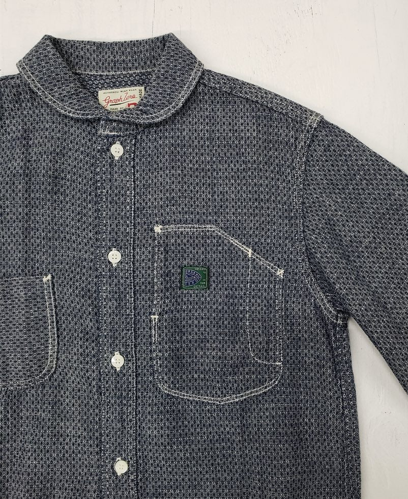 Graph Zero Shawl collar shirt Indigo/White