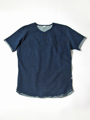 Pure Blue Japan Rounded Hem Henley Short Sleeve
