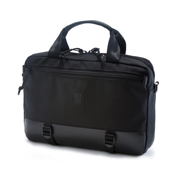 Topo Designs Commuter Briefcase in Black Ballistic/Black Leather