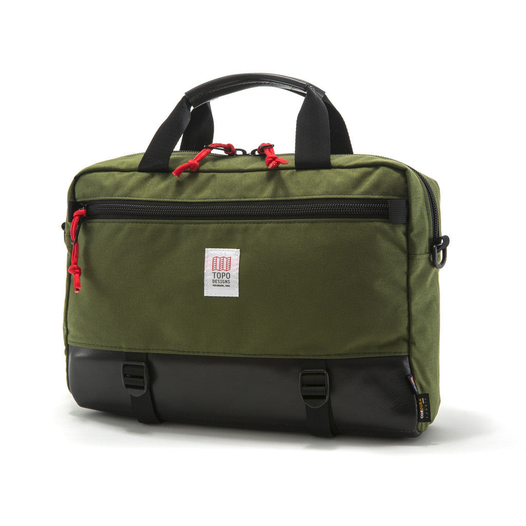 Topo Designs Commuter Briefcase in Olive/Leather