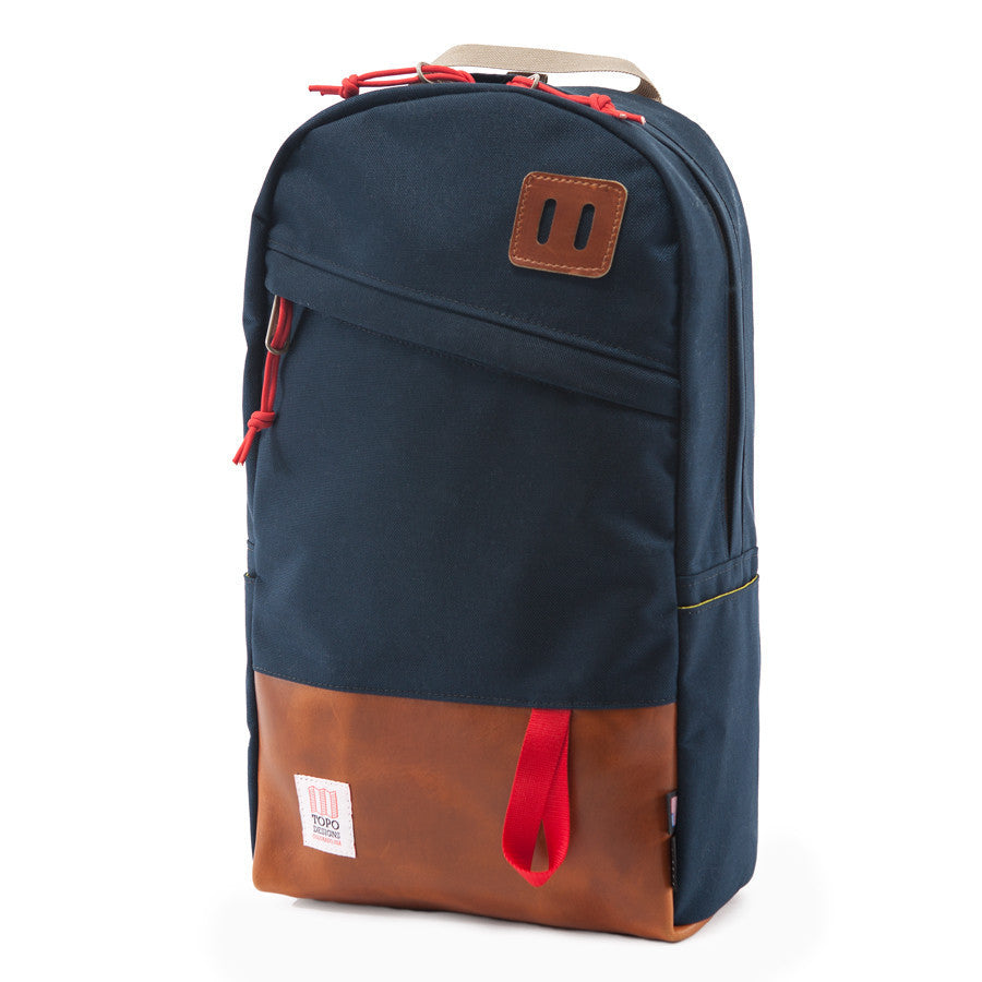 Topo Designs Daypack in Navy/Leather
