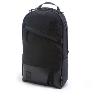 Topo Designs Daypack in Ballistic Black/Black Leather