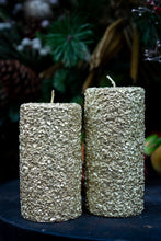 Load image into Gallery viewer, Gold luxury pillar candles - two sizes starting from;