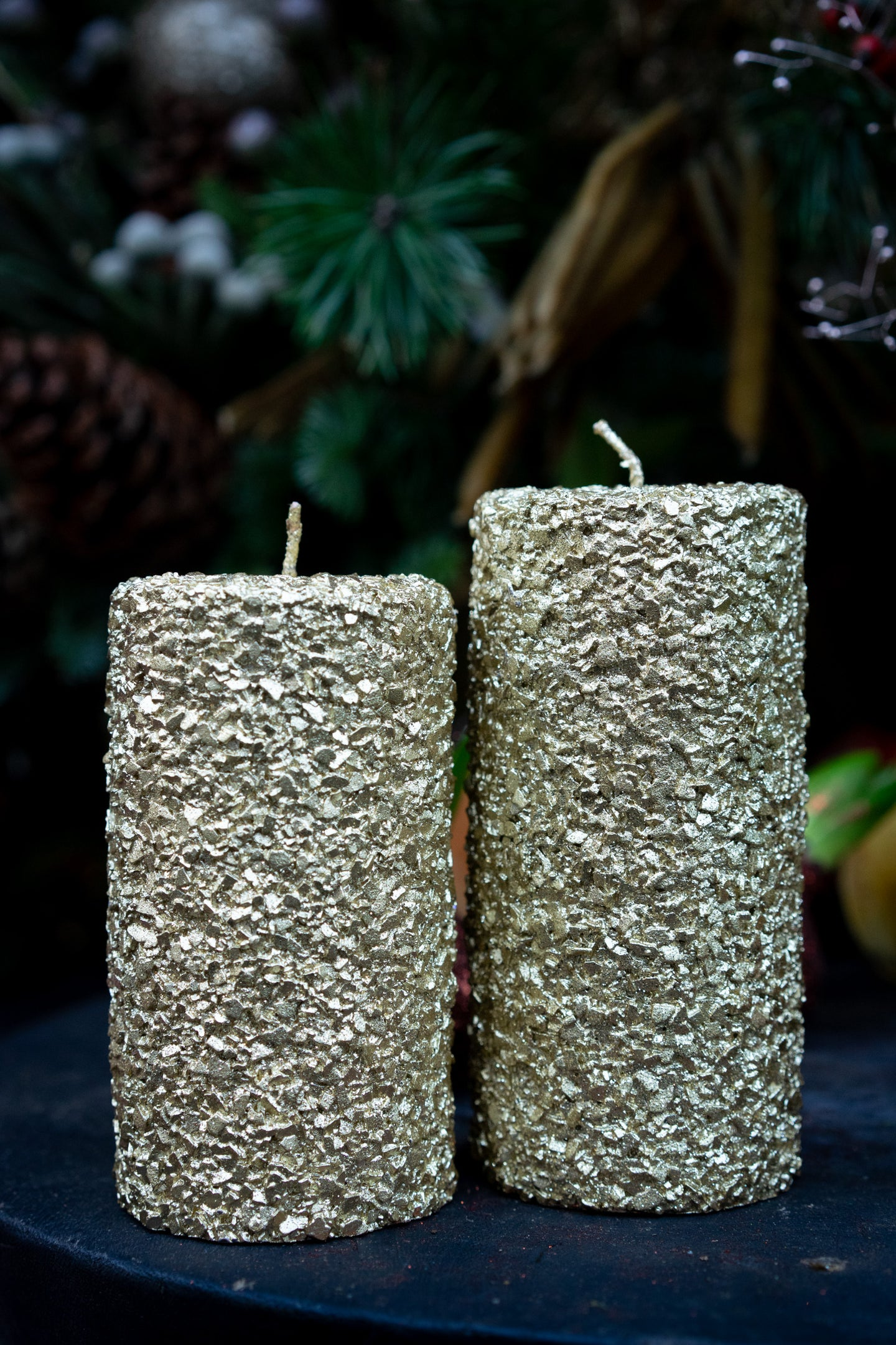 Gold luxury pillar candles - two sizes starting from;