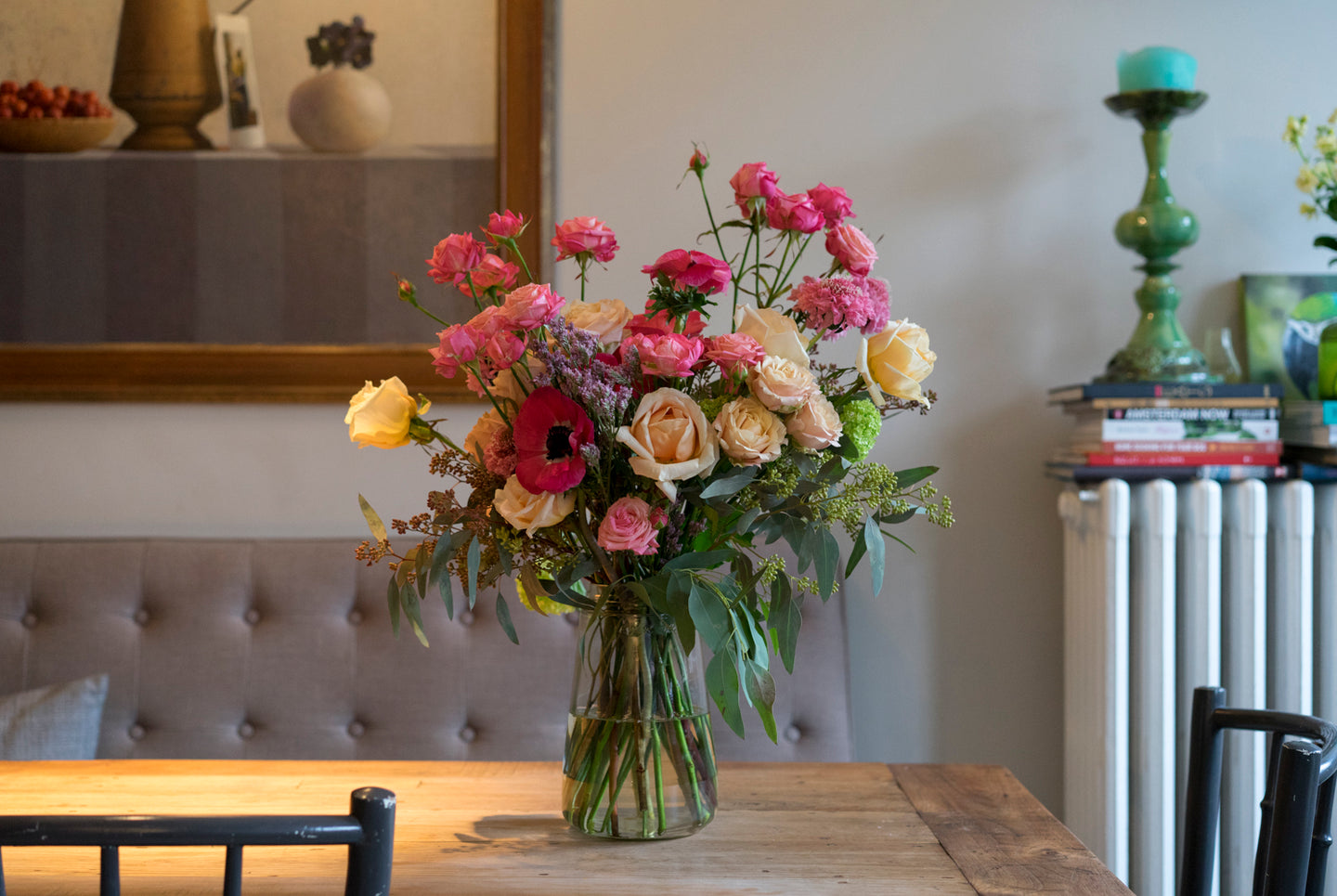 'Feature bouquet in vase' My rosy Valentine - next day delivery!