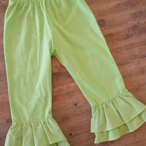 Girls lime green ruffle pants