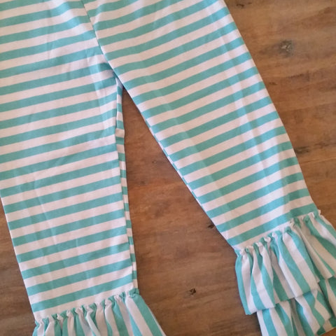 Girls aqua striped ruffle pants