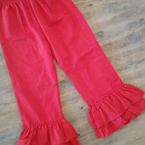 Girls red ruffle pants