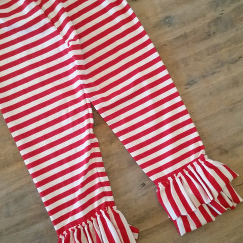 Girls red striped ruffle pants