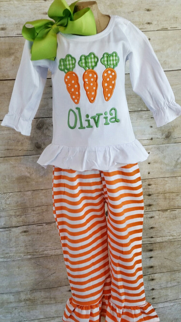 Girls Easter outfit, Easter Appliqué shirt, stripe pants, Easter Outfit, Easter,