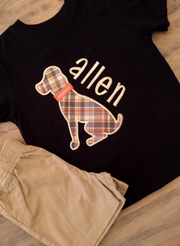 Boys plaid dog shirt with khaki shorts