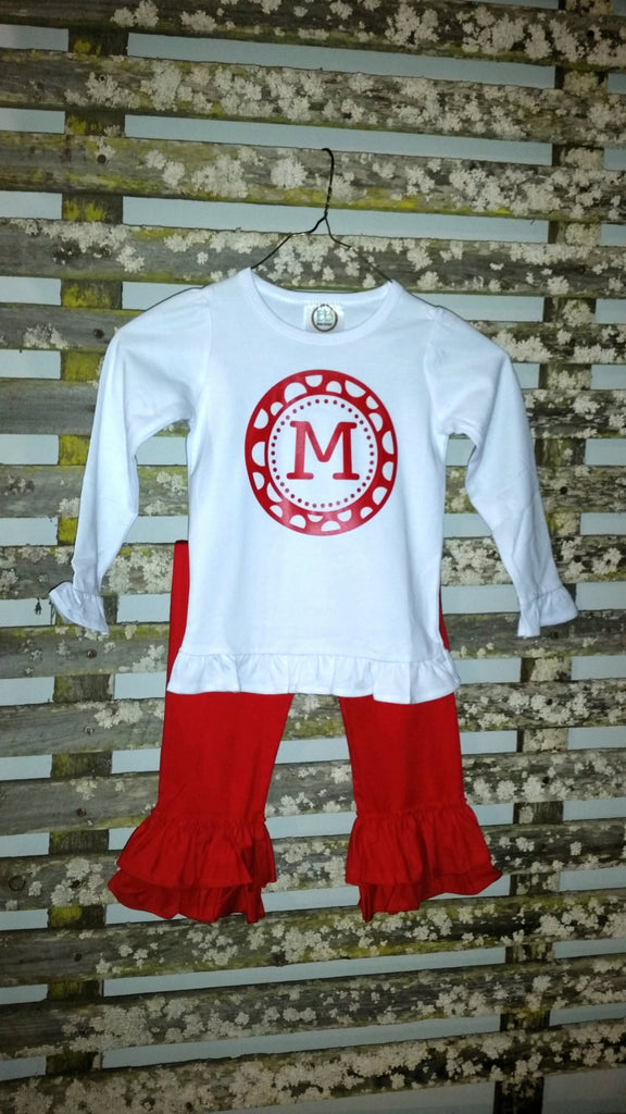 Cute personalized girls ruffle top and pants. Great for Christmas, Valentines or everyday wear.