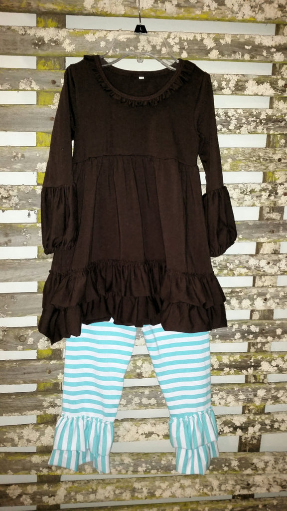 Cute personalized girls ruffle top and pants. Top is a beautiful brown color and pants are striped with Aqua and White.