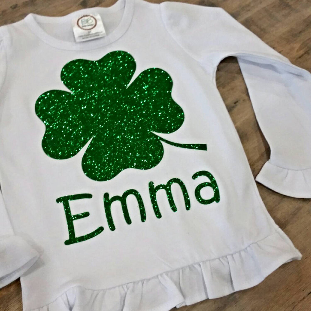 Glitter shamrock St. Patrick's day ruffle top with bow