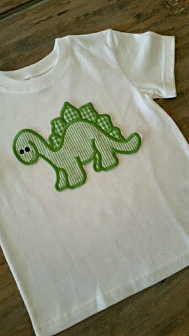 Dinosaur appliqué shirt. Name can be added under design. Monogram is FREE!!