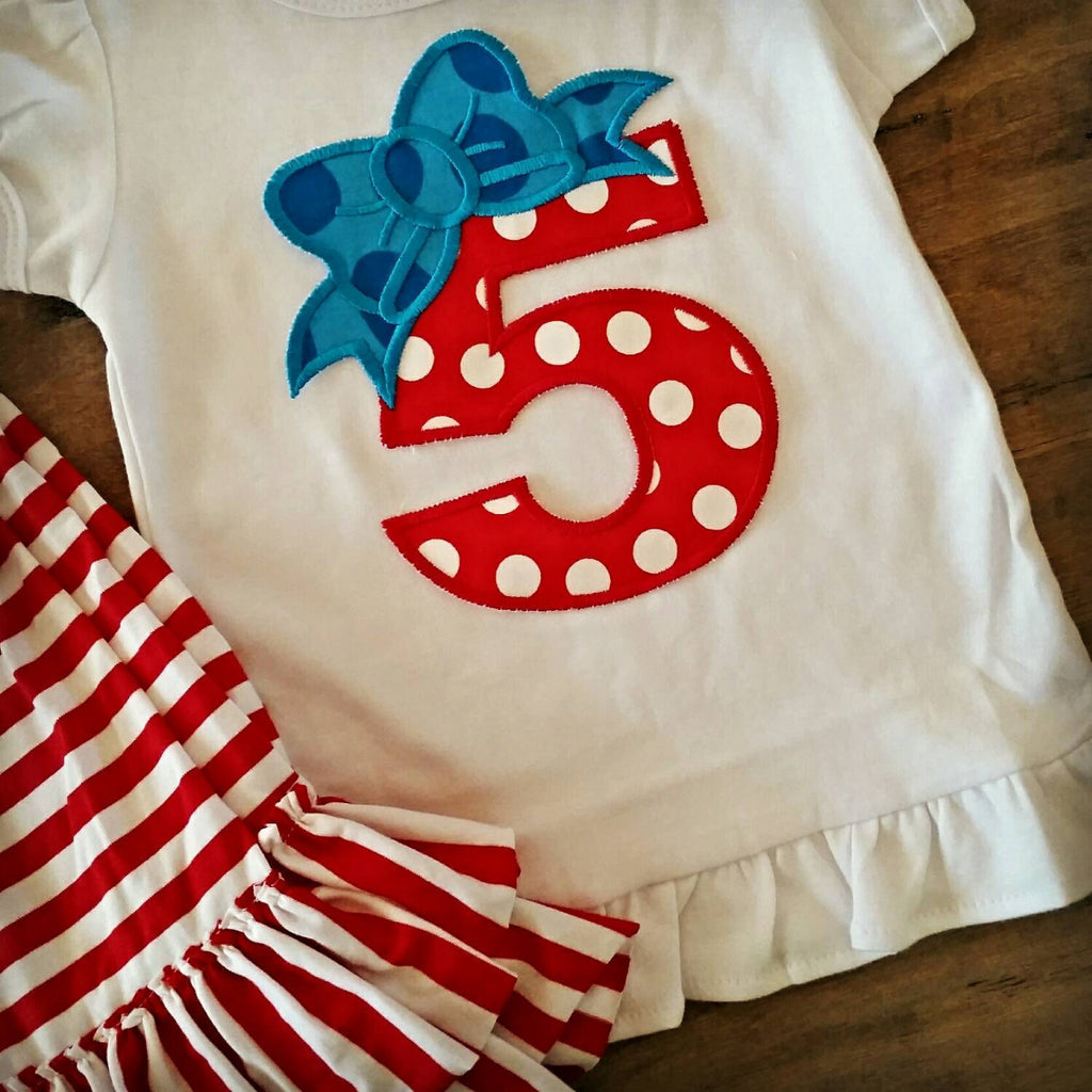 Girls birthday outfit , birthday number applique' , boutique birthday set monogrammed , birthday set with name , affordable birthday outift